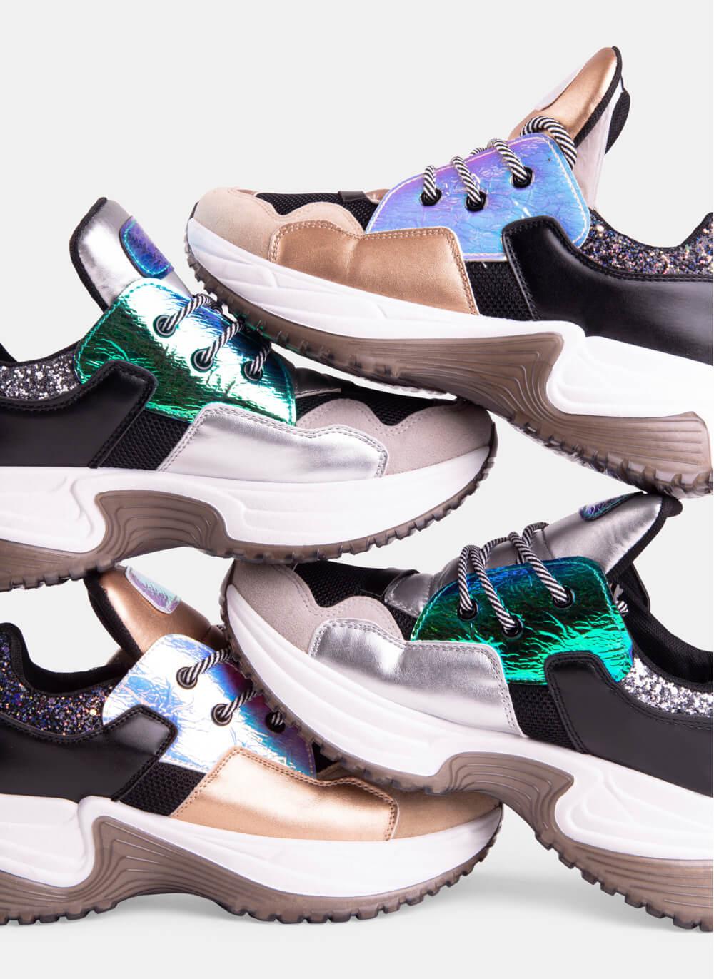 buty Srebrne sneakersy Hours
